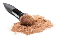 Facial loose powder and makeup brush Royalty Free Stock Photography