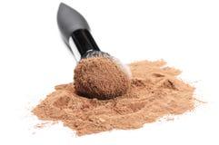 Facial loose powder and makeup brush Stock Photos