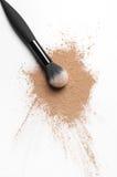 Facial loose powder and makeup brush Stock Photo