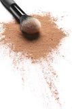 Facial loose powder and makeup brush Royalty Free Stock Images