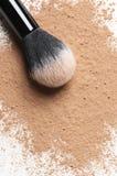 Facial loose powder and makeup brush Stock Photography