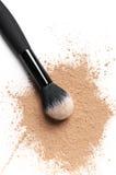 Facial loose powder and makeup brush Royalty Free Stock Photo