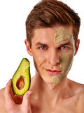 Facial man mask from fruits and clay . Face mud applied. Stock Image