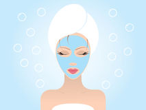 Facial Mask. Young beautiful woman with her eyes closed applying a facial mask. Vector illustration stock illustration