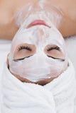 Facial mask of caucasian female Stock Photo