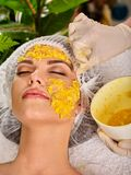 Facial mask from fruits for woman . Girl in medical hat. Facial mask from fresh fruits for woman. Girl give slices of avocado, grapefruit and kiwi as stock photos