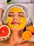 Facial mask from fresh fruits for woman. Girl beautiful face. Royalty Free Stock Photo