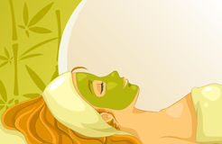 Facial mask. Girl with facial mask over background with bamboos and copy space royalty free illustration