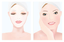 Facial mask. An illustration of a girl receiving a facial mask Stock Photography
