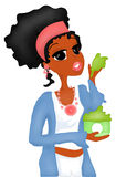 Facial Mask. Illustration of a woman applying a facial mask to pamper her skin stock illustration