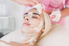 Facial mask removing Stock Images
