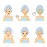 Facial mask set. Facial mask applying set illustration on white background. Step by step Stock Image