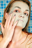 Facial mask in shower Royalty Free Stock Photography