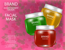 Facial Mask for Skin on the sparkling Background, Concept Skin Care Cosmetic. Mock-up of mask jar. Stock Images