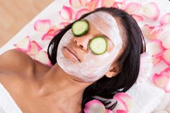 Facial mask of woman. Close-up Of Woman With Facial Mask In Spa Royalty Free Stock Images