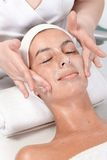 Facial massage at beautician. Young female getting facial massage at beautician Stock Photography