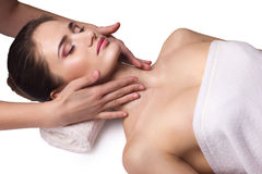 Facial massage,  care for skin Stock Photo