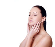 Facial massage isolated on white Stock Photography