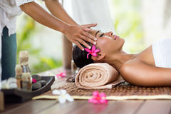 Facial massage outdoor. Spa massage, facial massage outdoor nature, beauty treatments Stock Photo