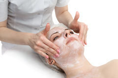 Facial massage with scrub mask Stock Photography