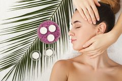 Woman getting professional facial massage at spa salon. Facial massage. Spa, resort, beauty and health concept. Beautiful woman getting professional face stock photo