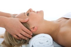 Facial massage to the girl stock image