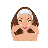Facial massage. Vector illustration Royalty Free Stock Image