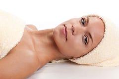 Facial massage.XXXL Royalty Free Stock Image