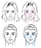 Facial massaging lines for man and woman Royalty Free Stock Image