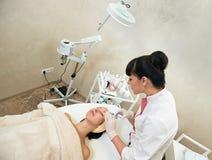 Facial mesotherapy syringe face Royalty Free Stock Photo