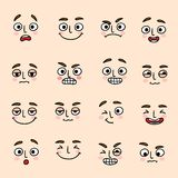 Facial mood expression icons set Stock Photos