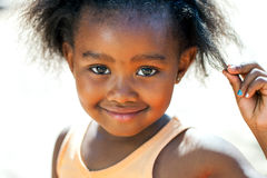 Facial portrait of african girl. Royalty Free Stock Images