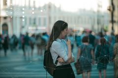 Free Facial Recognition And Search And Surveillance Of A Person In The Modern Digital Age, The Concept. Stock Image - 155542491