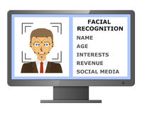 Facial recognition. Biometric identification. Royalty Free Stock Image