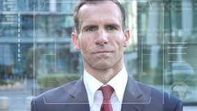 Facial recognition of businessman, security check. 4k high quality, 4k high quality stock footage