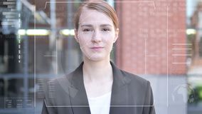 Facial recognition of businesswoman, security check