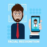 Facial Recognition Concept Hand Holding Smartphone Scanning  Royalty Free Stock Photography