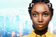 Facial recognition grid on african woman against city background. Close up portrait of facial recognition grid on african woman against city background royalty free stock photo
