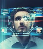 Facial recognition. Man using face recognition system. royalty free illustration