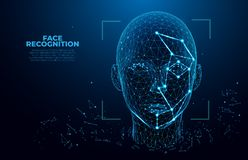 Free Facial Recognition System Concept. Face Recognition. 3D Scanning. Face ID. Vector Wireframe Concept. Biometric Scanning Stock Image - 137534981