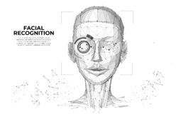 Facial Recognition System concept. Face Recognition. Cyber women, Robot face. biometric scanning, 3D scanning. Face ID. vector illustration