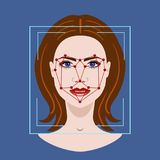 Facial Recognition System with a face of woman, vector illustration Royalty Free Stock Photos
