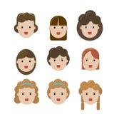 Facial set girls royalty free illustration