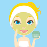 Facial Skin Care. Blonde woman applying facial beauty skin care cream mask treatment Stock Images