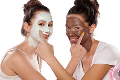 Facial skin care and friendship royalty free stock photo