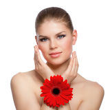Facial skin moisturizing Royalty Free Stock Images
