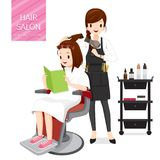 Relaxing Woman In Hair Salon. Facial Skin Treatment Beauty Cosmetic Makeup Healthy Lifestyle Stock Images