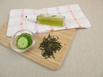 Free Facial Spray With Green Tea And Cucumber Against Impure And Dry Skin Stock Images - 95434744