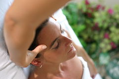 Facial treatment Stock Images