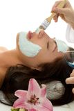 Facial Treatment. A beautician applying a facial treatment mask